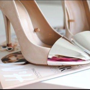 Zara Basic silver toe heels